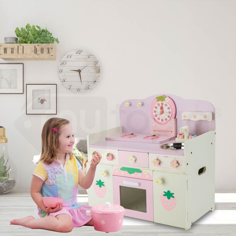 ROVO KIDS Wooden Kitchen Pretend Play Set Kids Toy Home Cookware Toddlers by Rovo Kids