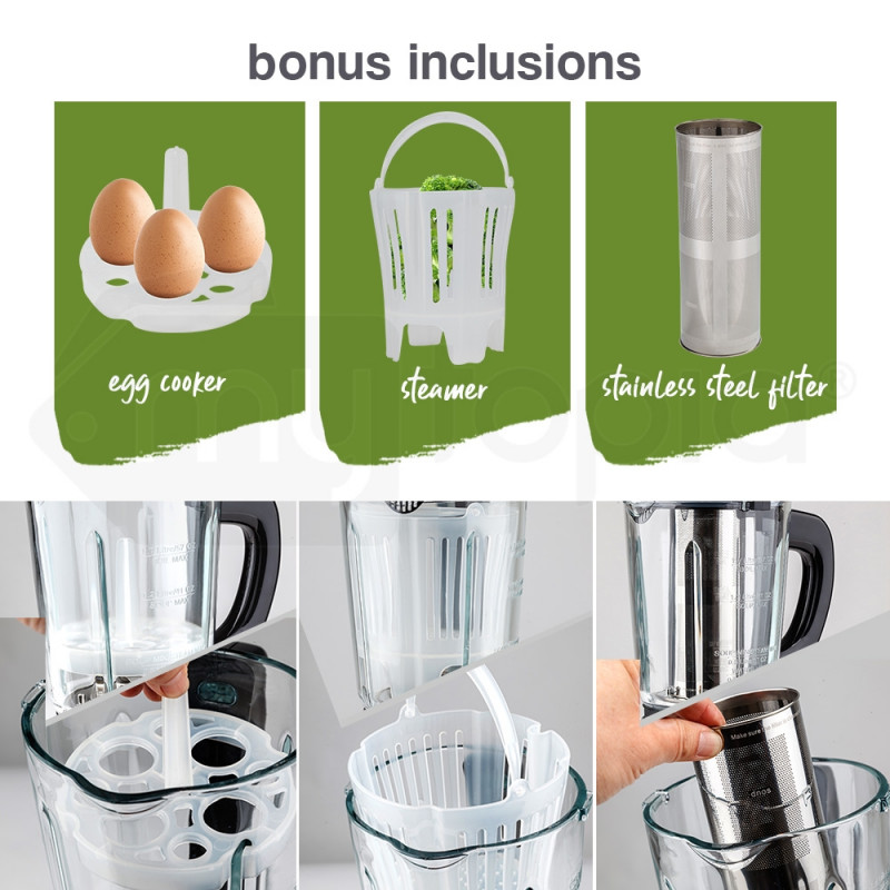 EuroChef Glass Soup Maker-Blender Kettle Hot Cold LCD Processor Stainless by EuroChef