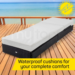 2x LONDON RATTAN Wicker Outdoor Sun Lounge 2pcs Pool Garden Furniture Sofa Bed by London Rattan
