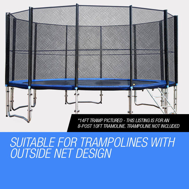 UP-SHOT Replacement Trampoline Safety Net Round Spare Part Enclosure 10ft 8 Pole by Up-Shot