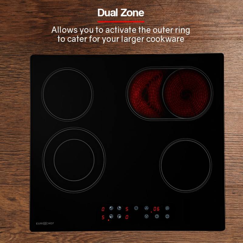 EuroChef  60cm Dual Zone Touch Control Electric Ceramic Cooktop by EuroChef