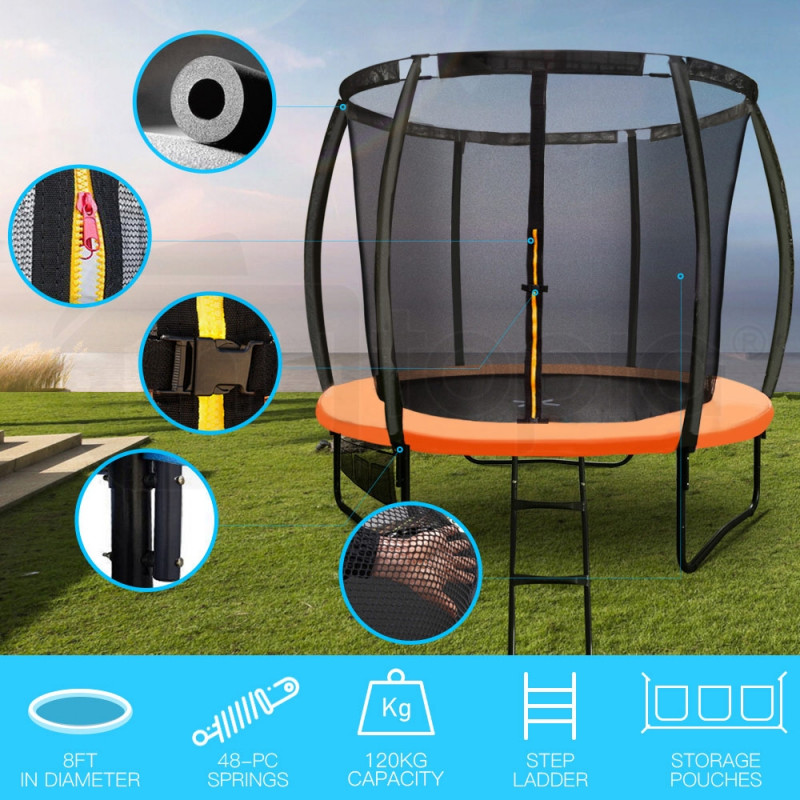 UP-SHOT 8ft Round Kids Curved Pole Spring Trampoline						 by Up-Shot