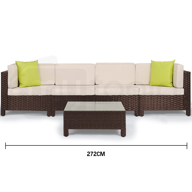 LONDON RATTAN 5pc Sofa Outdoor Furniture Brown Wicker Lounge Set Setting Pool by London Rattan