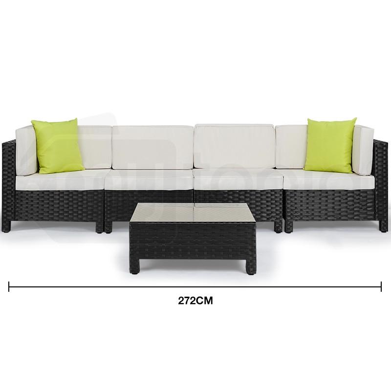 Black 5pc Outdoor Lounge Set by London Rattan