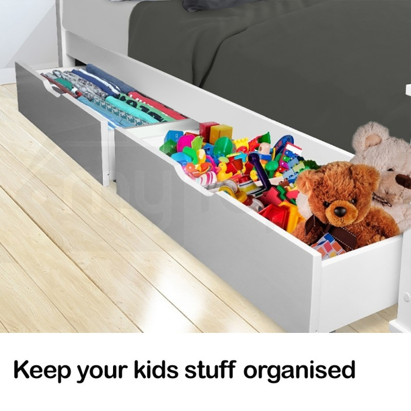 2x Under Bed Storage Drawers White Pine Wooden Trundle White Loft Wheels Draw by Kingston Slumber