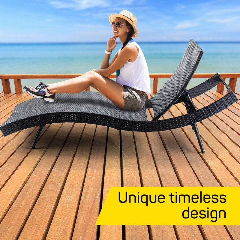 LONDON RATTAN Outdoor Sun Lounge Wicker Day Bed Furniture Pool Chair Sofa Curved by London Rattan