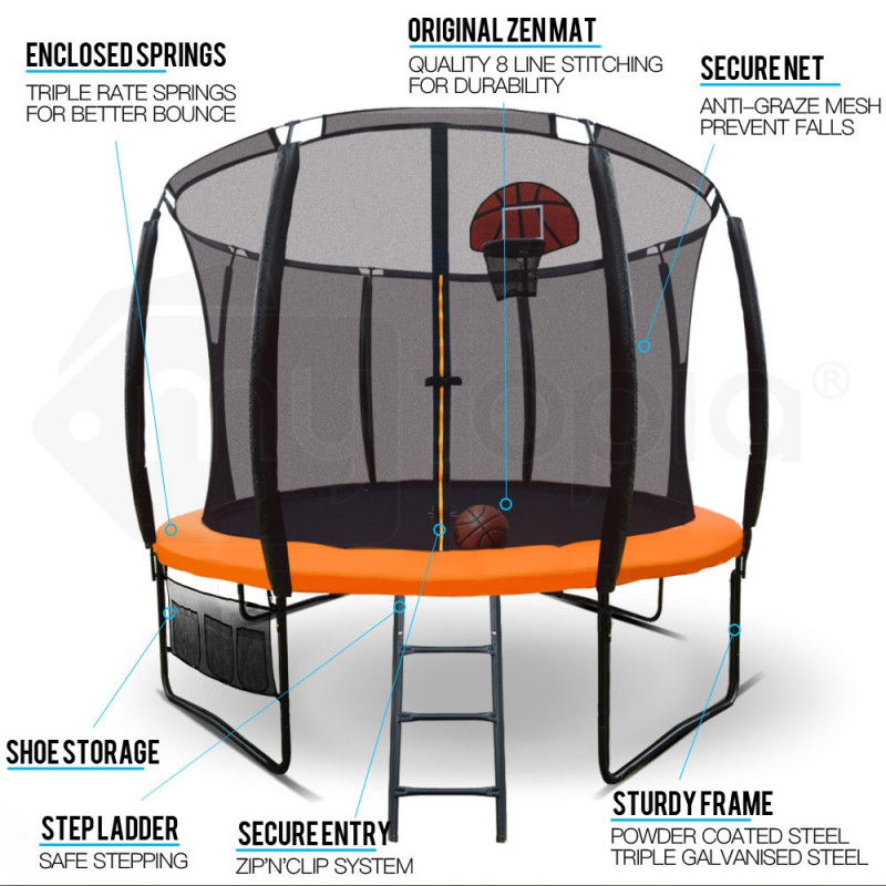 10ft Round Trampoline Basketball Set Safety Net Spring Pad Ladder by Up-Shot