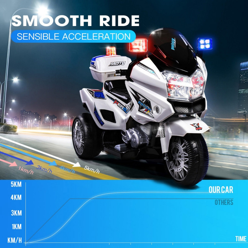 White Police Patrol Electric Kids Ride On Motorcycle- S1K Inspired by Rovo Kids