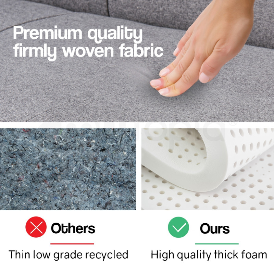 AVANTE 190cm Sofa Bed Indoor Lounge Cotton Mattress Linen Fabric Couch Lt Grey by Avante