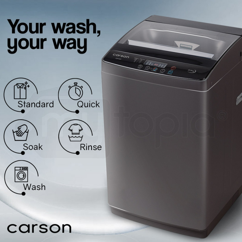 CARSON 9kg Top Load Washing Machine Home Dry Wash Automatic Washer Laundry Grey  by Carson