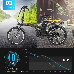 """Nishiro Folding eBike Shimano 36V 250W Electric Bike Battery Black 20"""" - Cityhop II by Nishiro"""