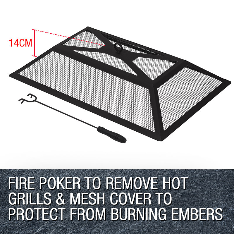 3 in 1 Rectangular Portable Outdoor Fire Pit BBQ by Thermomate