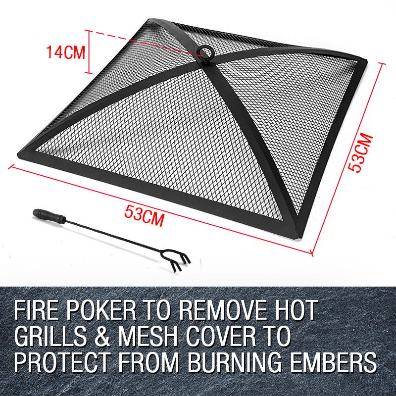 3 in 1 Square Portable Outdoor Fire Pit BBQ by Thermomate