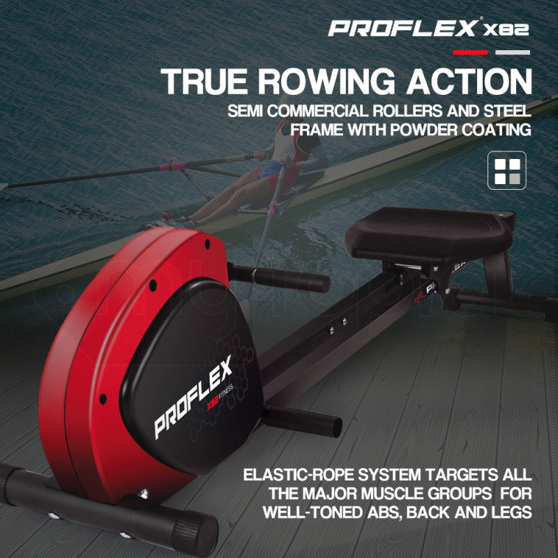 Proflex Black/Red Compact Exercise Rowing Machine by Proflex