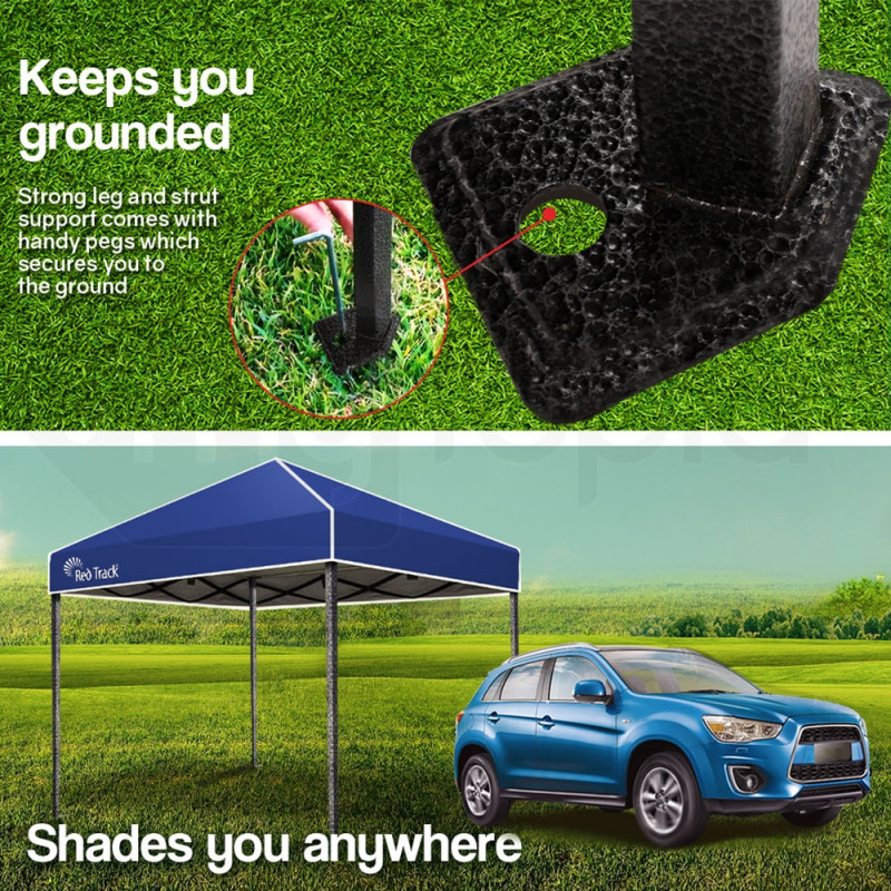 Blue 3x3m Pop Up Gazebo Folding Gazebo - Blue by Red Track