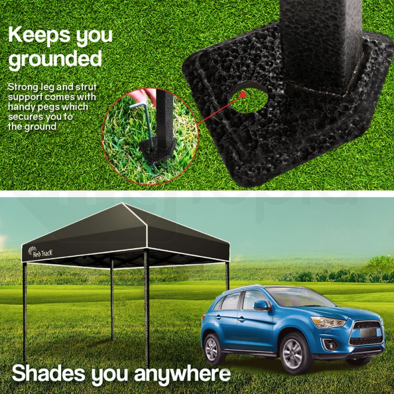 3x3m Folding Gazebo Shade Outdoor Pop-Up Black Foldable Marquee by Red Track