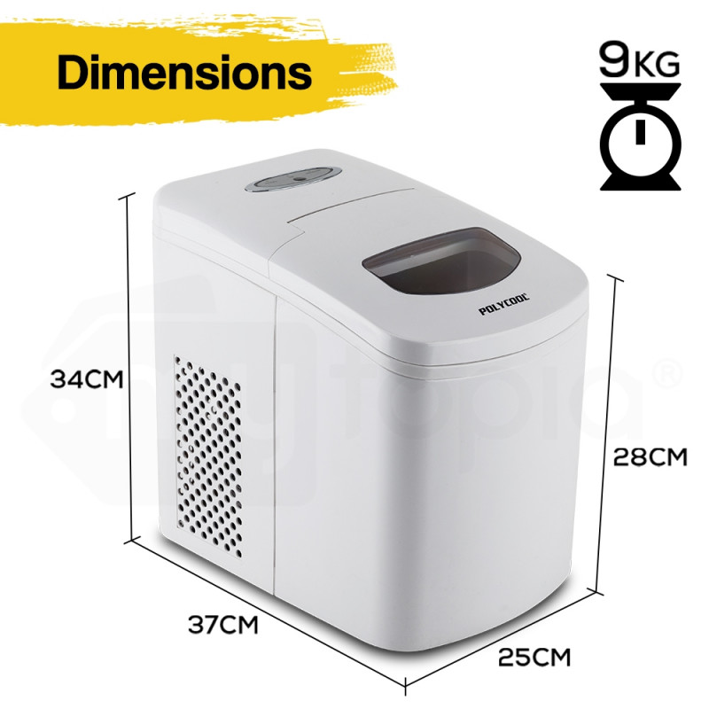 POLYCOOL 2L Portable Ice Maker Automatic Machine Home Quick Fast Fridge - White by PolyCool