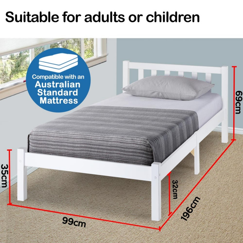 Single Wooden Pine Bed Frame Timber Kids Adults Contemporary Bedroom Furniture by Kingston Slumber
