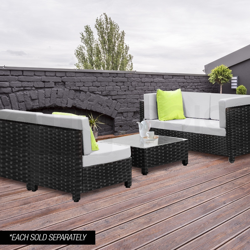 LONDON RATTAN Modular Outdoor Lounge Chair 1pc Wicker Black Light Grey by London Rattan