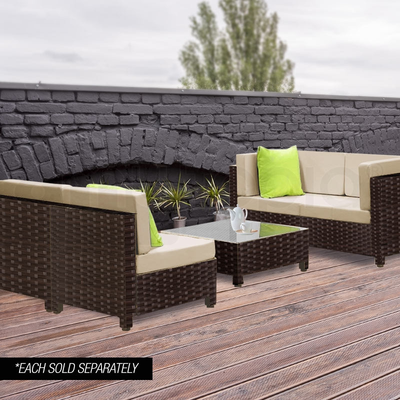 LONDON RATTAN 1pc Sofa Outdoor Furniture Wicker Lounge Corner Garden Chair by London Rattan