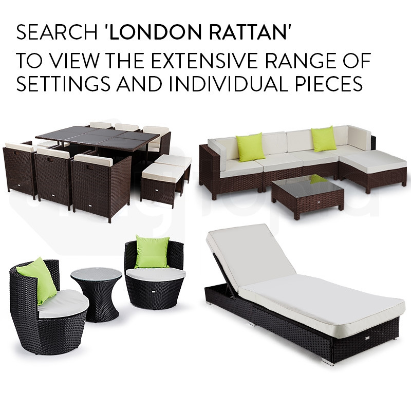 Brown Outdoor Ottoman Footstool by London Rattan