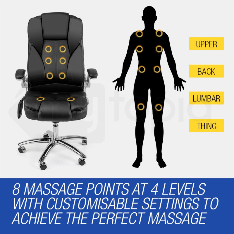 8 Point Massage Executive Office Computer Chair - Remote PU Leather by Avante