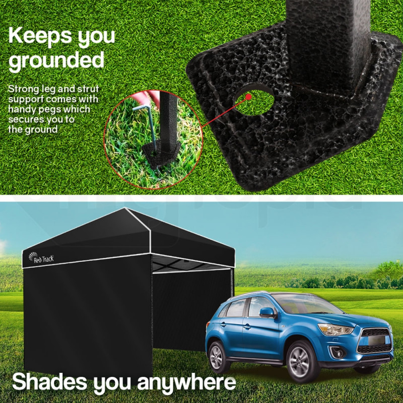 3x3m Folding Gazebo Walls Shade Outdoor Pop-Up Black Foldable Marquee by Red Track