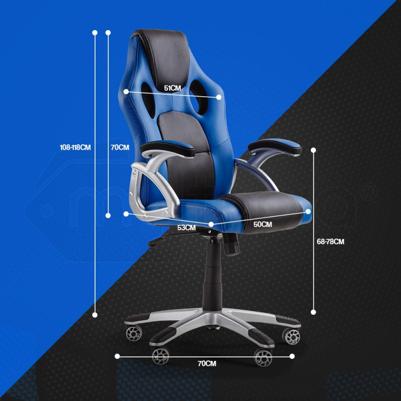 OVERDRIVE Racing Office Chair - Computer Seat Gaming Executive Deluxe PU Leather by Overdrive