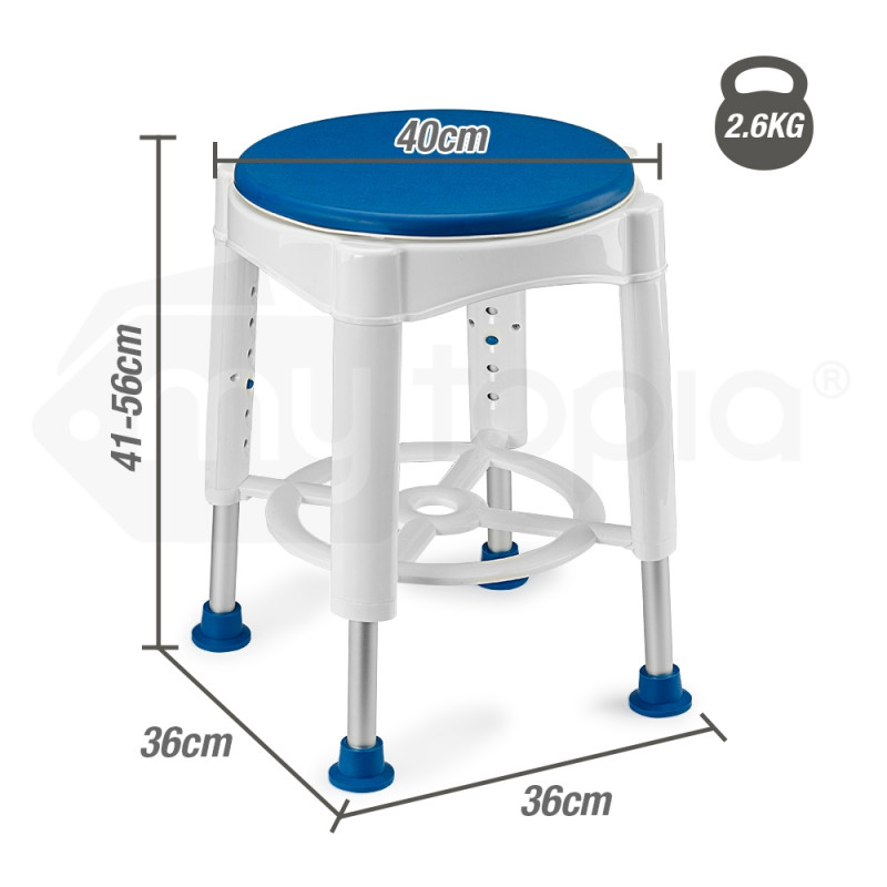 EQUIPMED Adjustable Bath Shower Seat Chair Stool Swivel Rotating Bath Aid by Equipmed