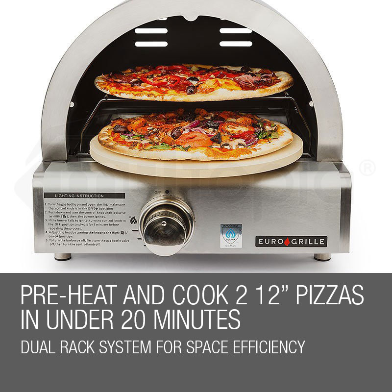 Silver Portable Gas Pizza Oven by Euro-Grille