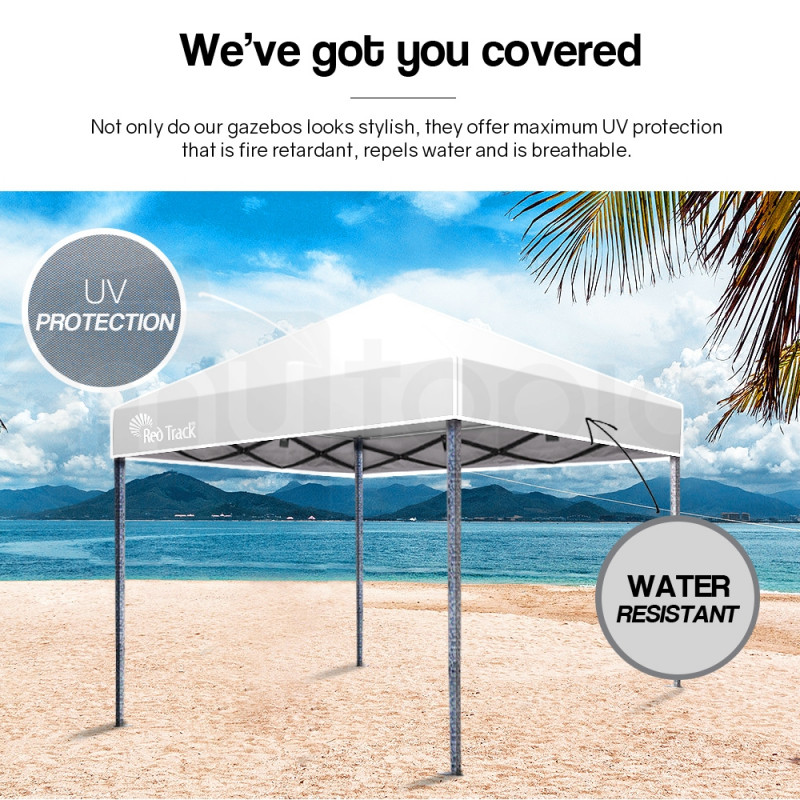 Red Track 3x3m Folding Gazebo Shade Outdoor Pop-Up White Foldable Marquee by Red Track