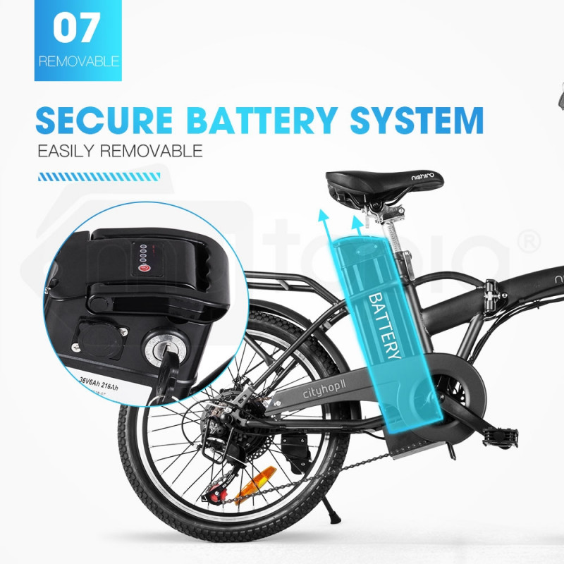 Matte Black 20 Quot 36v Folding Electric Bike Nishiro Mytopia