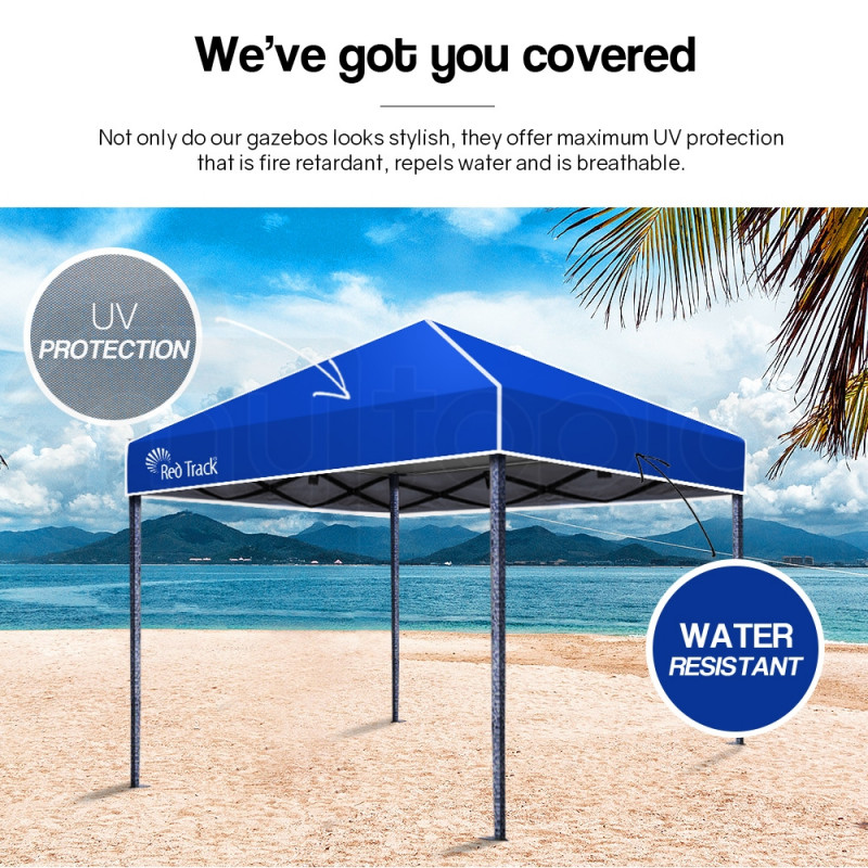 Red Track 3x3m Folding Gazebo Shade Outdoor Pop-Up Navy Foldable Marquee by Red Track