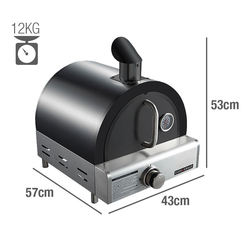 Black Portable Gas Pizza Oven by Euro-Grille