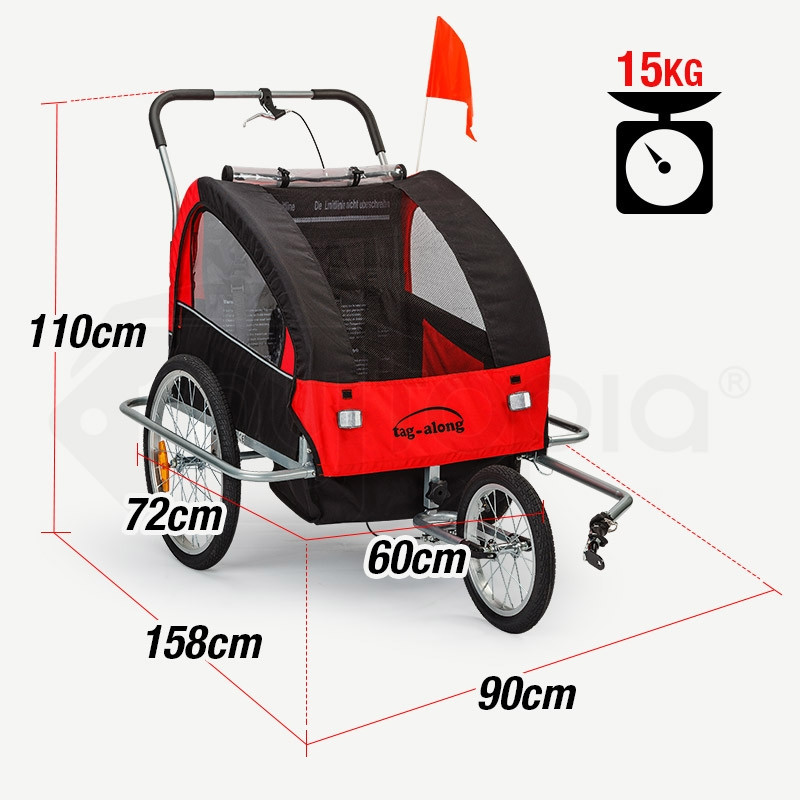 Red Kids Bike Trailer & Jogger by Tag-Along