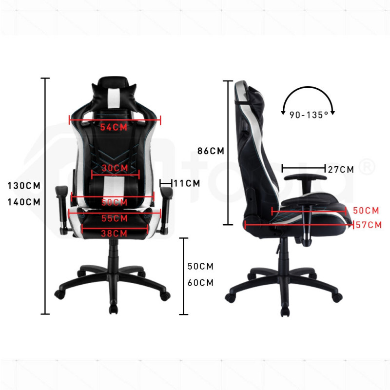 Overdrive Gaming Chair Office Computer Racing PU Leather Executive Race Black by Overdrive