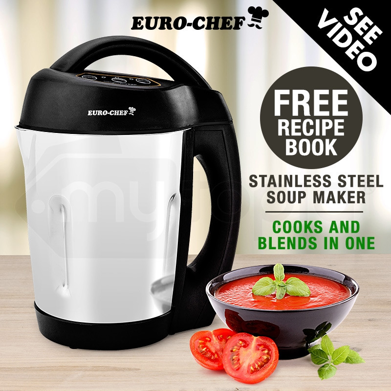 EuroChef Stainless Steel Soup Maker Hot Cold Electric Blender Food Processor by EuroChef