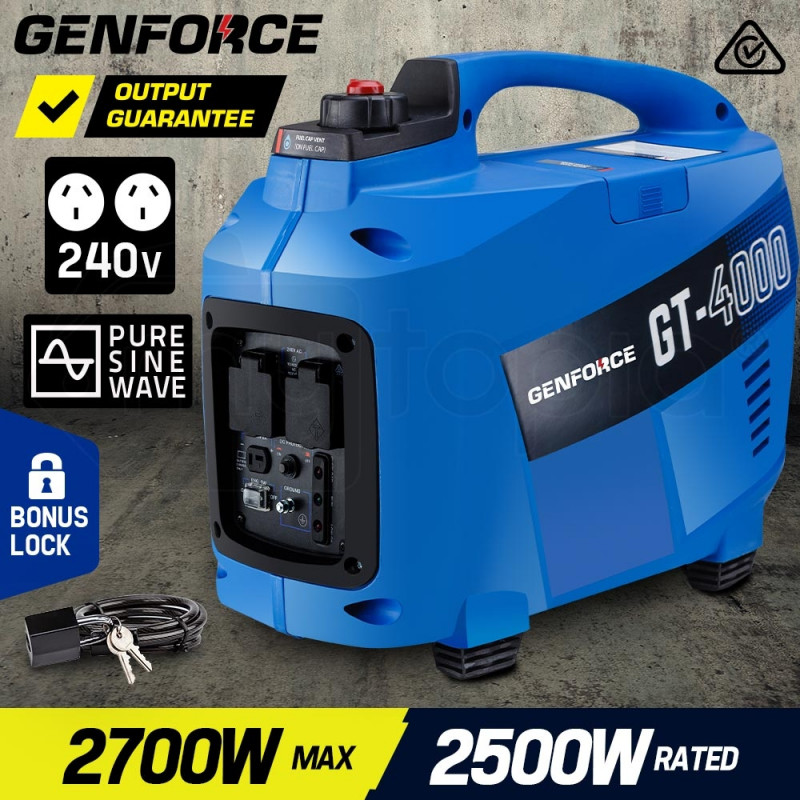 GENFORCE Inverter Generator 2700Watts Max 2500Watts Rated Portable Camping Petrol by Genforce
