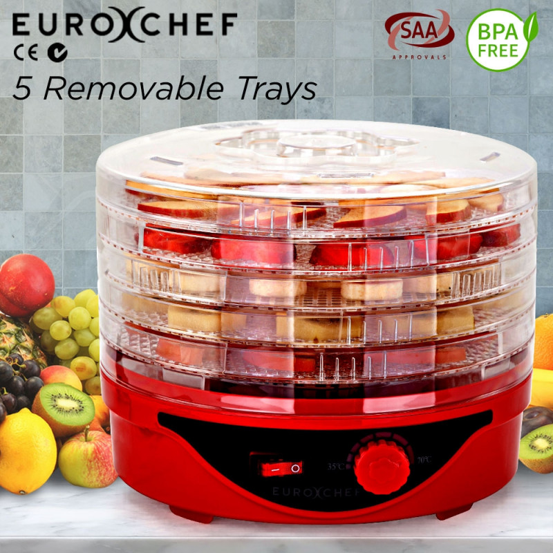 Red 5 Trays Electric Food Dehydrator - EUC-DH-5RD by Euro-Chef