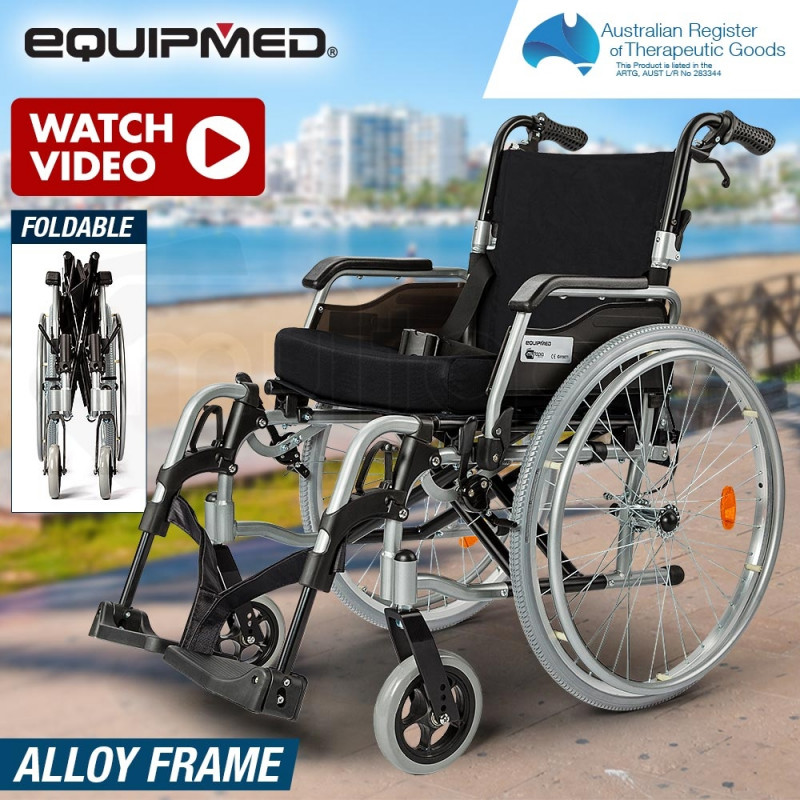 "EQUIPMED 24"" Folding Wheelchair Alloy with Brakes Folding Armrests for Dining by Equipmed"