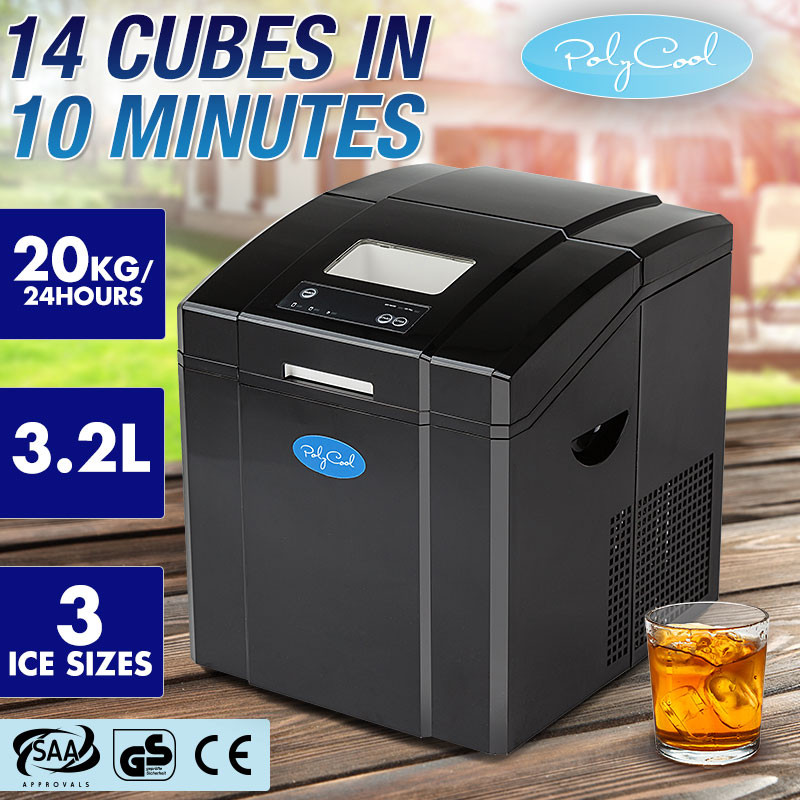 POLYCOOL Portable Ice Cube Maker Machine 3.2L Quick Commercial Home Fast NEW by PolyCool