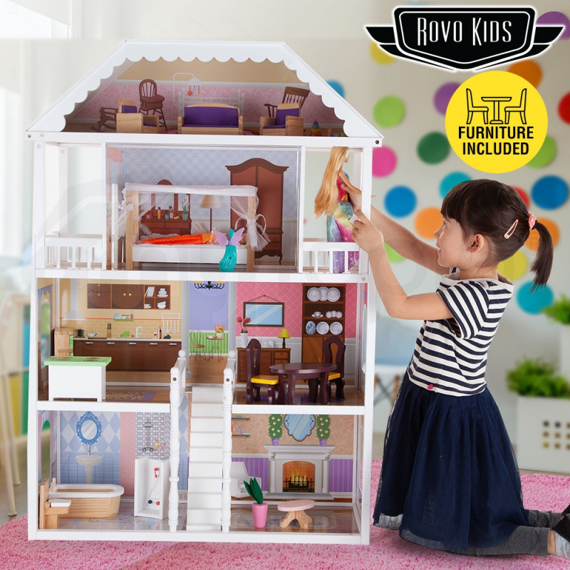 3 Storey Wooden Kids Doll House Rovo Kids Mytopia