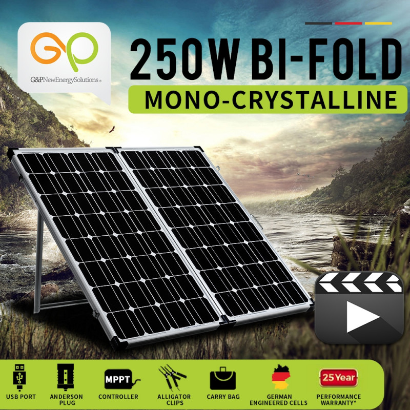 G&P 12V 250W Folding Portable Mono Solar Panel Kit Caravan Camping Power USB by G&P