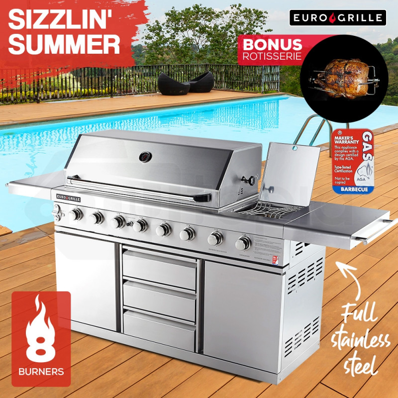 EuroGrille 8 Burner BBQ Outdoor Barbeque Gas 100% Stainless Steel Kitchen by EuroGrille