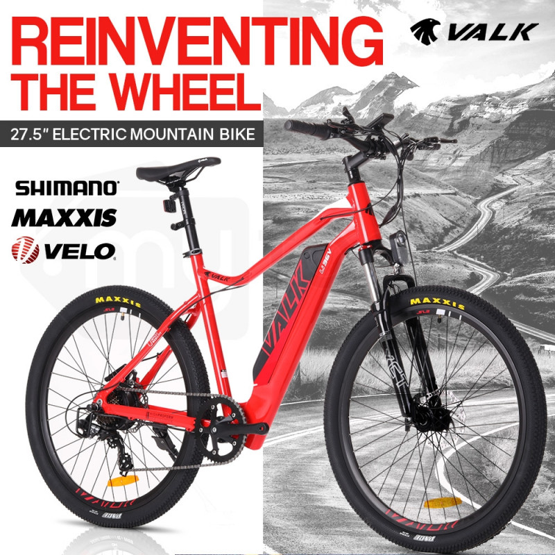 "VALK eMTB Maxxis Velo Shimano 36V 250W Electric Mountain Bike eBike 27.5"" Red - MX7 by Valk"