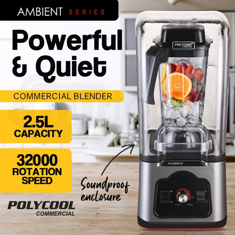 POLYCOOL Commercial Blender Quiet Enclosed Processor Smoothie Mixer Cafe Fruit by PolyCool