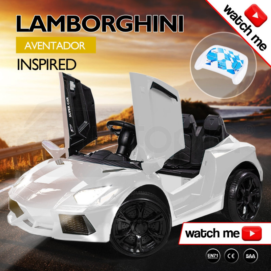 White Lamborghini Inspired Electric Kids Ride On Car Rovo Kids