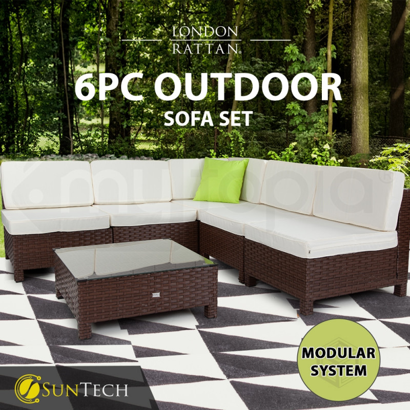 LONDON RATTAN Modular Sofa Outdoor Furniture Set 6pc Wicker Brown Cream by London Rattan