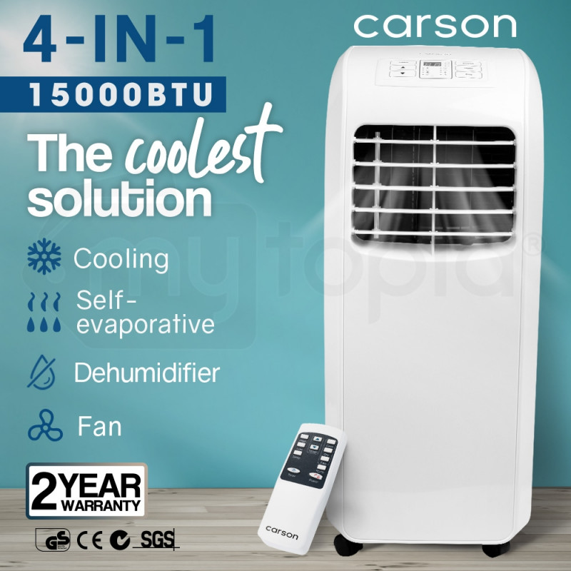 CARSON 4-in-1 Portable Air Conditioner Dehumidifier Fan Cooler Aircon 15000 BTU by Carson