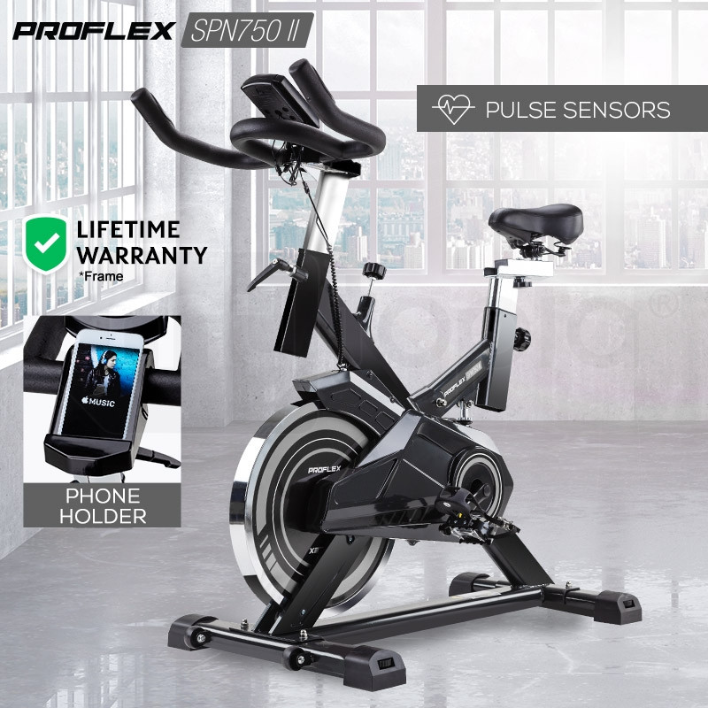 PROFLEX Spin Bike - Flywheel Commercial Gym Exercise Home Workout Grey by Proflex